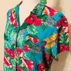 Gap Magenta and Blue Floral Hawaiian Shirt